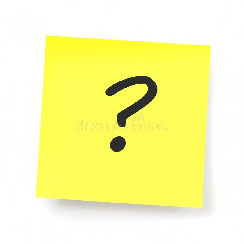 黄色稠粘的笔记-问号 免版税库存图片