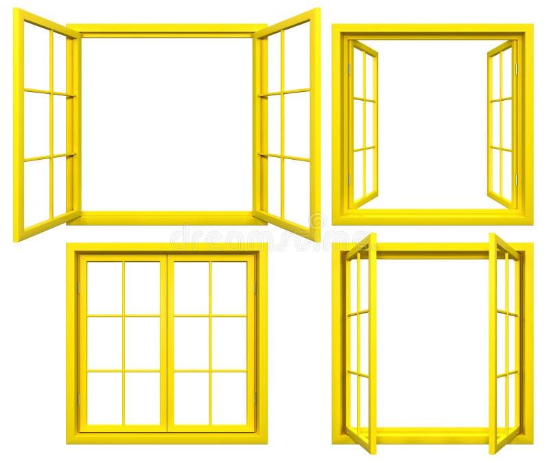 黄色窗架的汇集在白色的 皇族释放例证