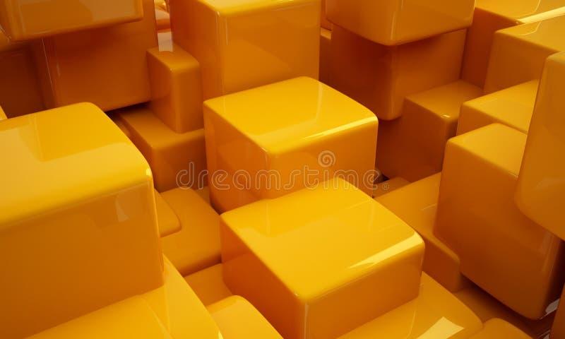 黄色立方体 向量例证
