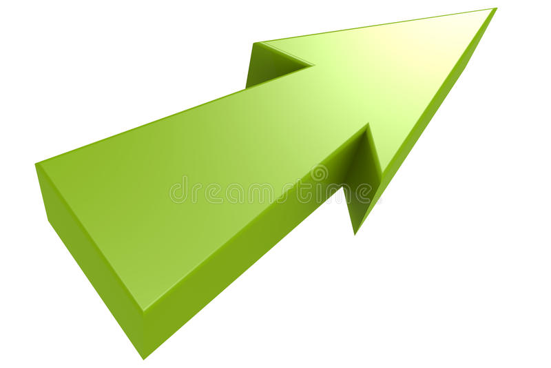 绿色箭头,隔绝有白色背景 库存例证