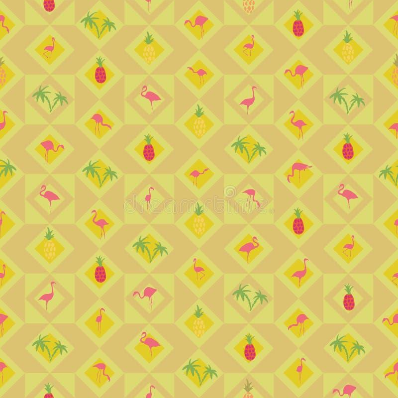 黄色米黄背景火鸟菠萝棕榈树 皇族释放例证
