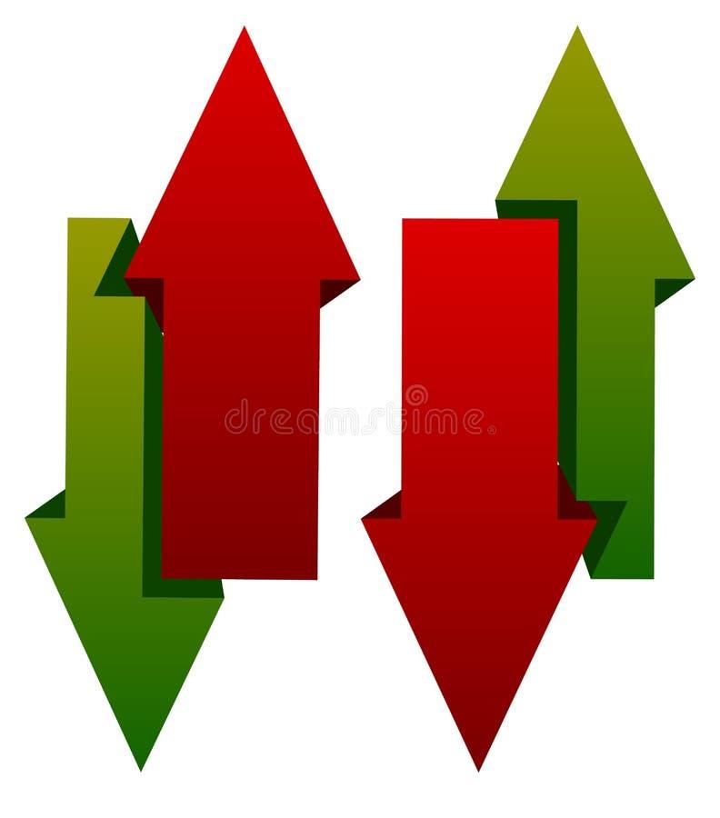 绿色红色在箭头象下 在相反dir的垂直的箭头 皇族释放例证