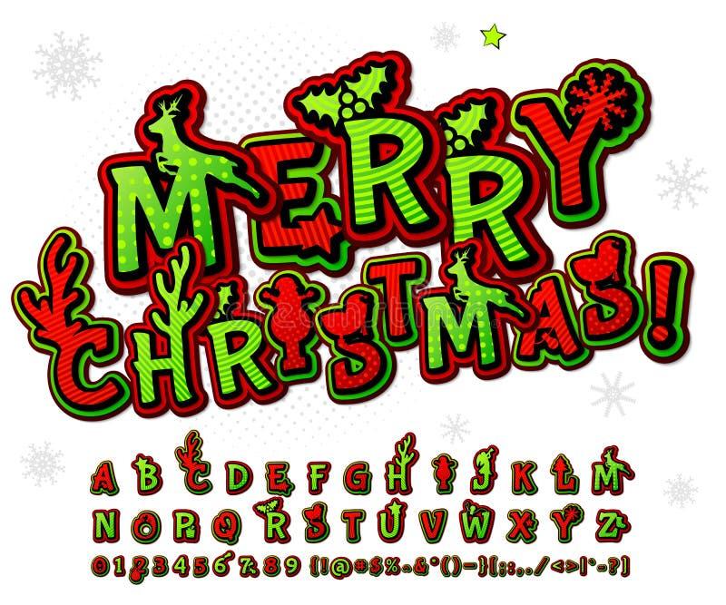 绿色红色高细节可笑的字体,字母表 漫画,流行艺术 库存例证