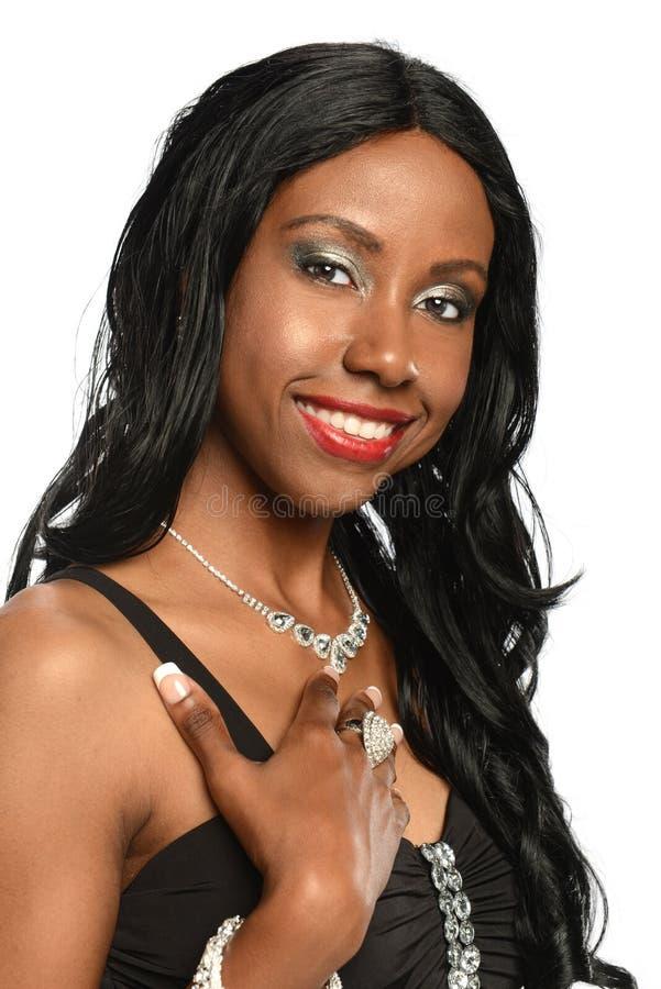 黑色纵向妇女年轻人 免版税库存照片