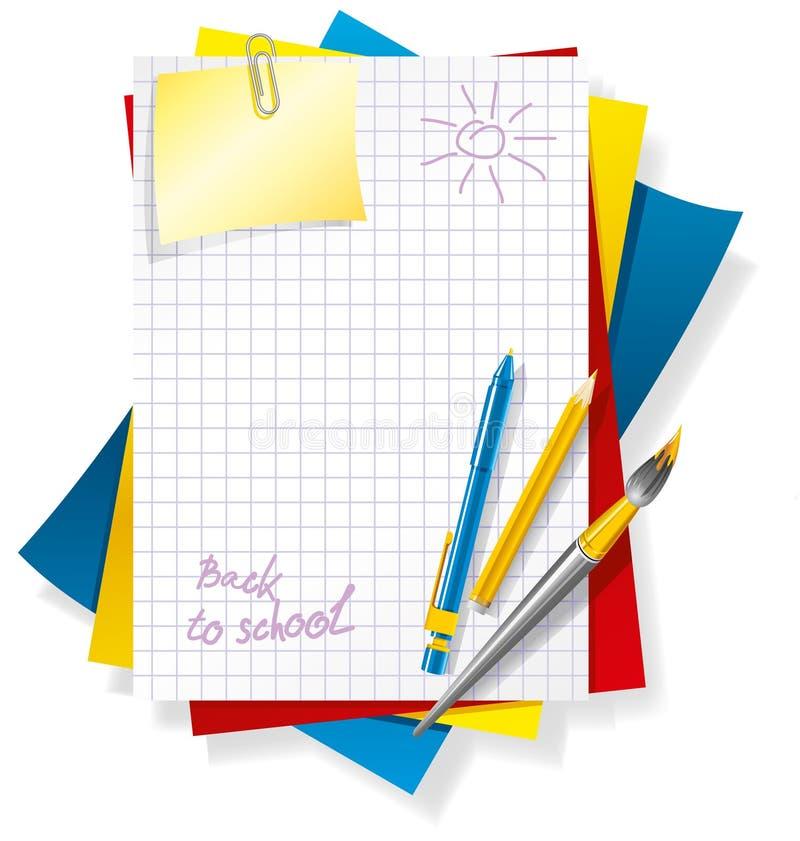 色纸笔 向量例证