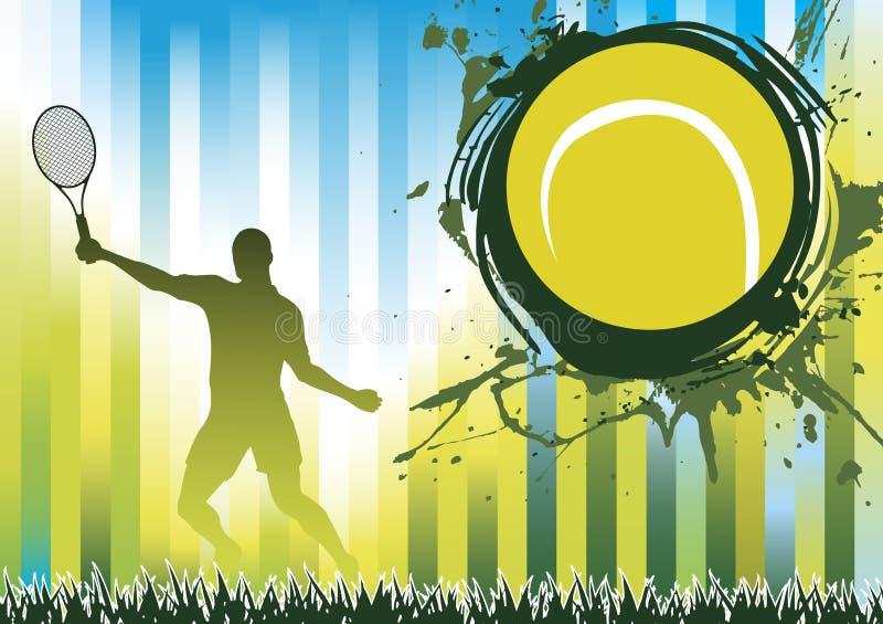 绿色网球飞溅 库存例证