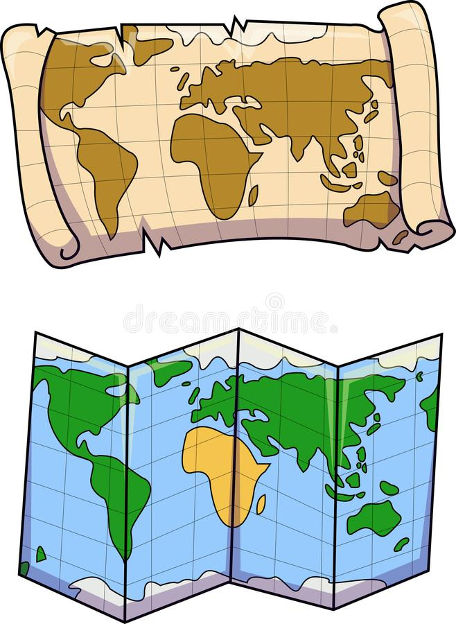 色老和新的地图的传染媒介 库存图片