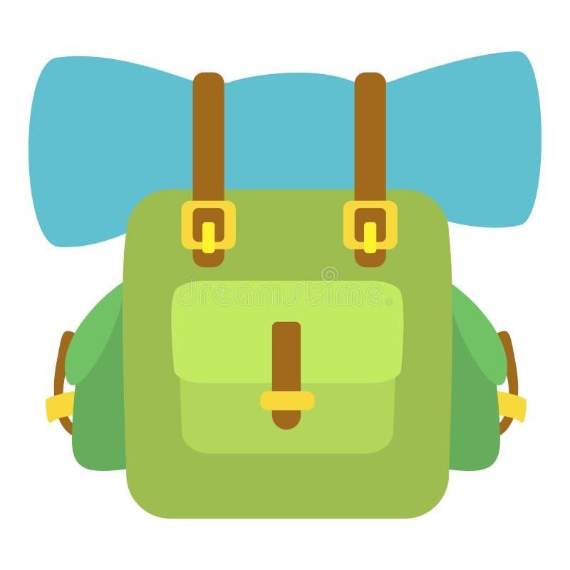 绿色背包象,动画片样式 库存例证
