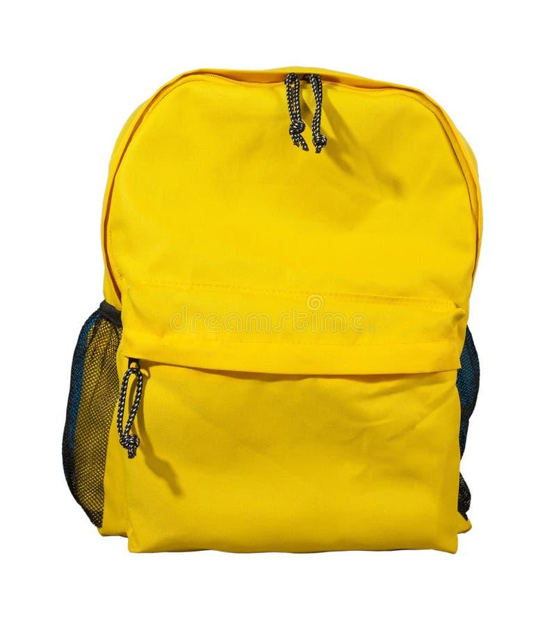 黄色背包,书包 免版税库存图片