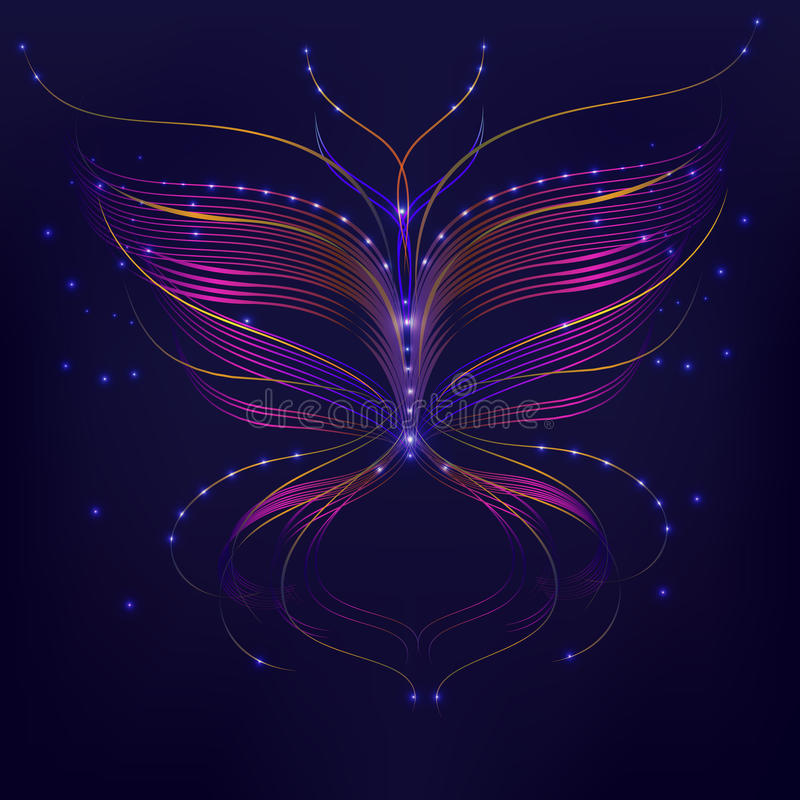 紫色背景抽象蝴蝶线 向量例证