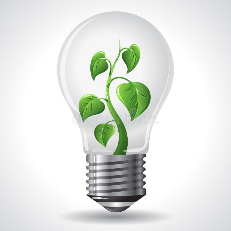 绿色能量概念-能源节约电灯泡 皇族释放例证