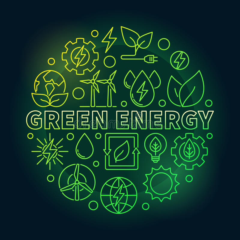 绿色能量概述五颜六色的例证 皇族释放例证
