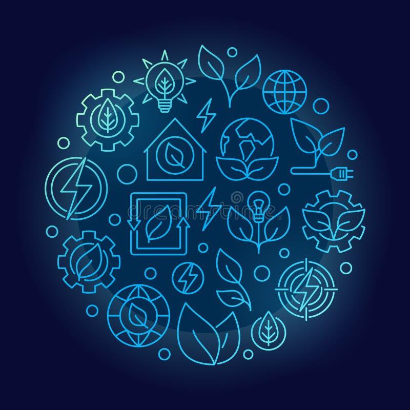 绿色能量概述蓝色例证 库存例证