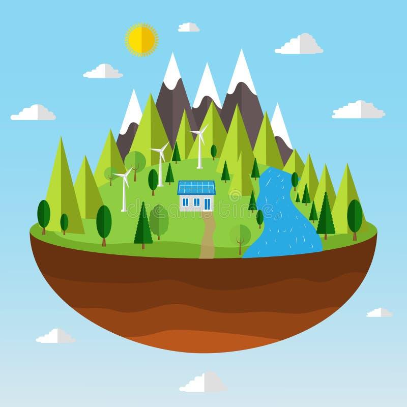 绿色能量的生态概念的例证 库存例证