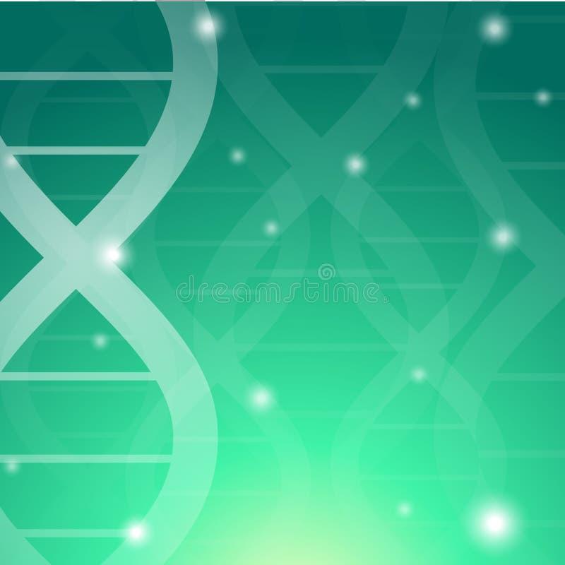 绿色脱氧核糖核酸背景 向量例证