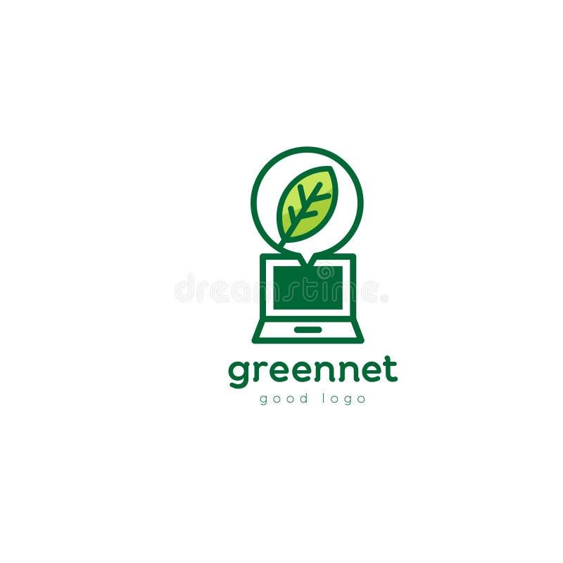 绿色膝上型计算机自然叶子商标设计 免版税库存图片