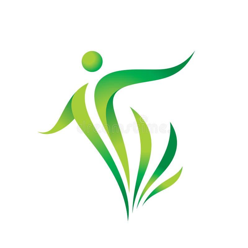 绿色自然传染媒介商标模板 健康标志 健身妇女概念例证 与叶子的人的字符 自由象 库存例证