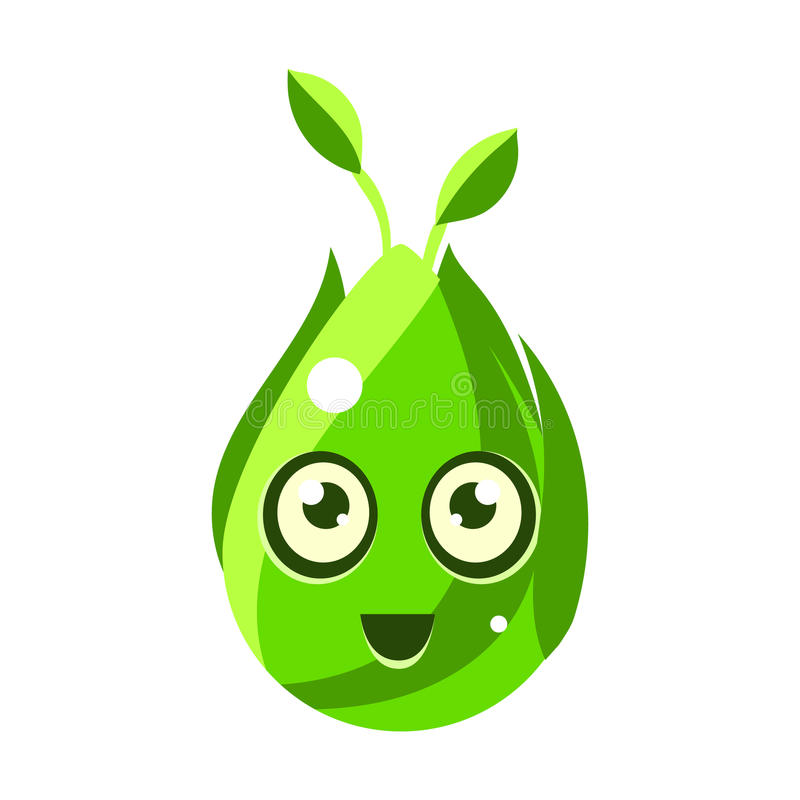 绿色自然元素,与大眼睛传染媒介Emoji象的蛋形逗人喜爱的意想不到的字符 库存例证