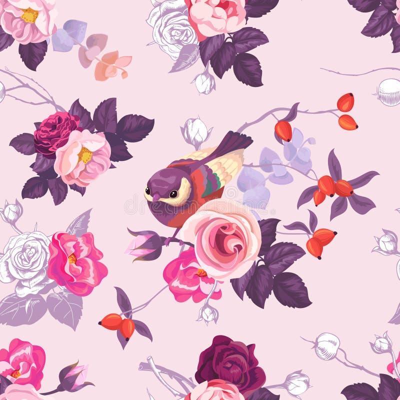 色花卉无缝的样式与与黑白照片和狂放上升了 库存例证