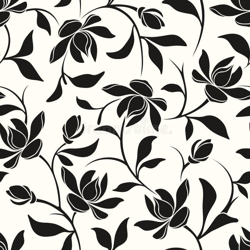 黑色花卉模式无缝的白色 也corel凹道例证向量 向量例证
