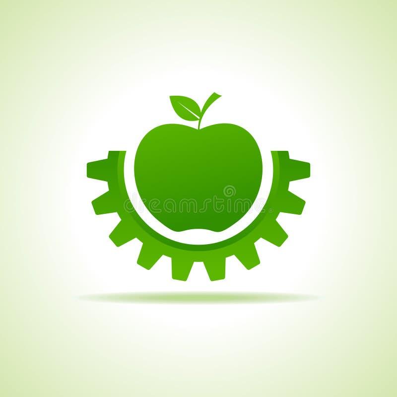 绿色苹果做齿轮形状,企业技术标志 向量例证