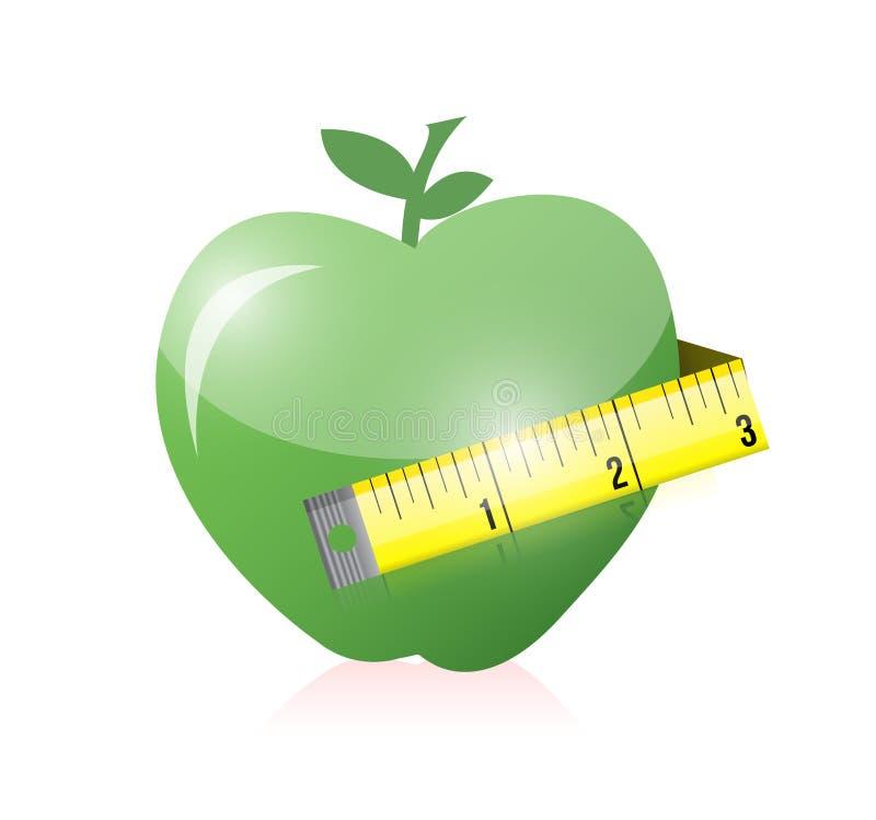 绿色苹果和措施磁带。例证设计 库存例证