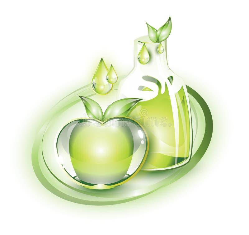 绿色苹果和汁液 皇族释放例证