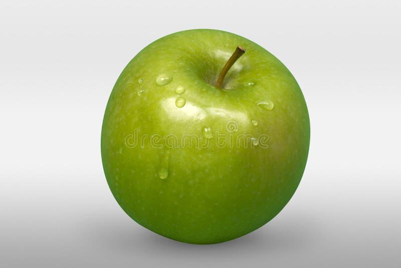 绿色苹果用水在白色背景滴下 正面图 库存照片