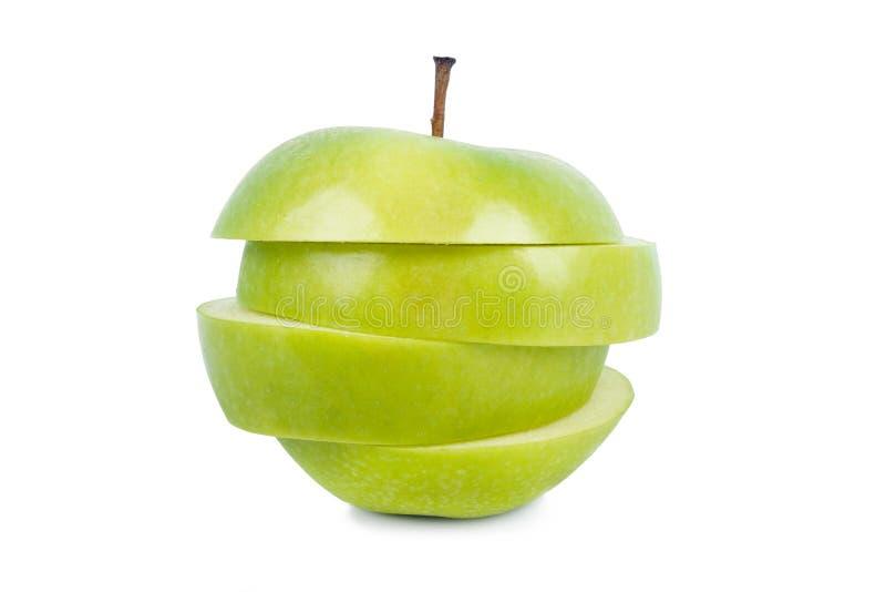绿色苹果,隔绝在白色背景 库存照片