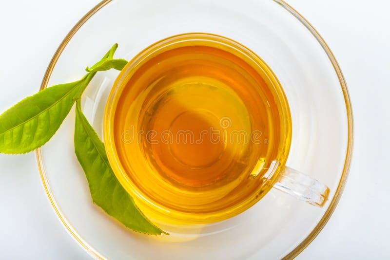 绿色茶叶和玻璃杯子红茶 库存图片