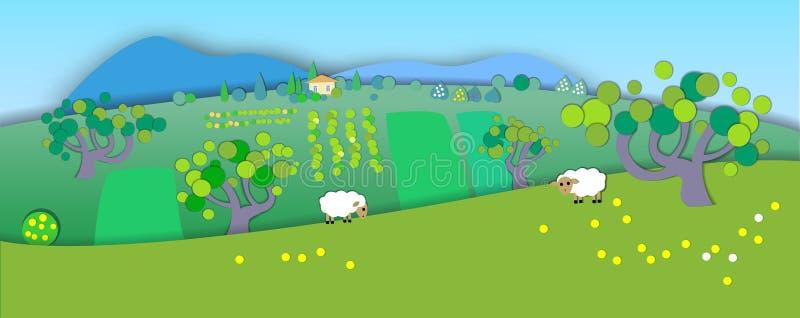 绿色草甸,庭院,树 更改季节 显示p的概念 库存例证