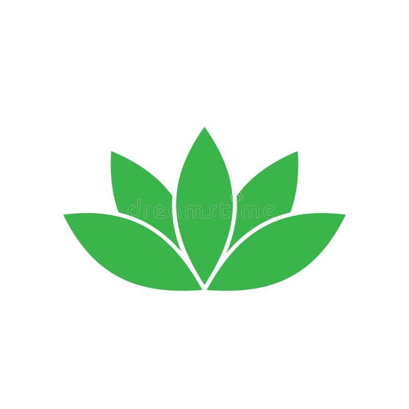 绿色莲花标志 温泉和健康题材设计元素 也corel凹道例证向量 向量例证