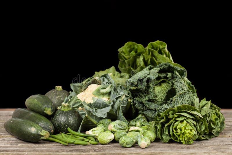绿色菜的分类 免版税库存照片