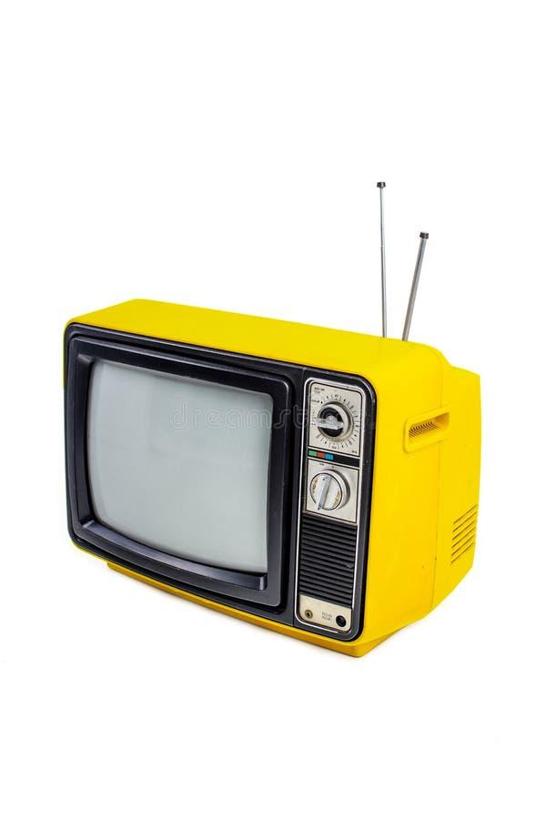 黄色葡萄酒样式老电视 免版税库存照片