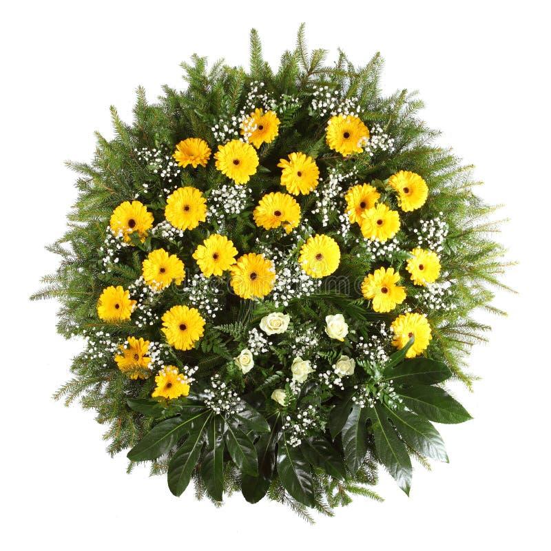绿色葬礼花圈 免版税库存照片