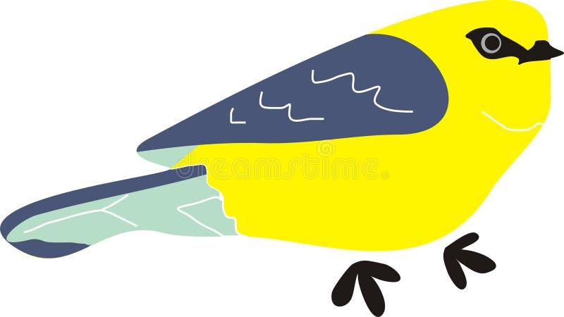 黄色蓝色鸟动物动画片 免版税库存图片
