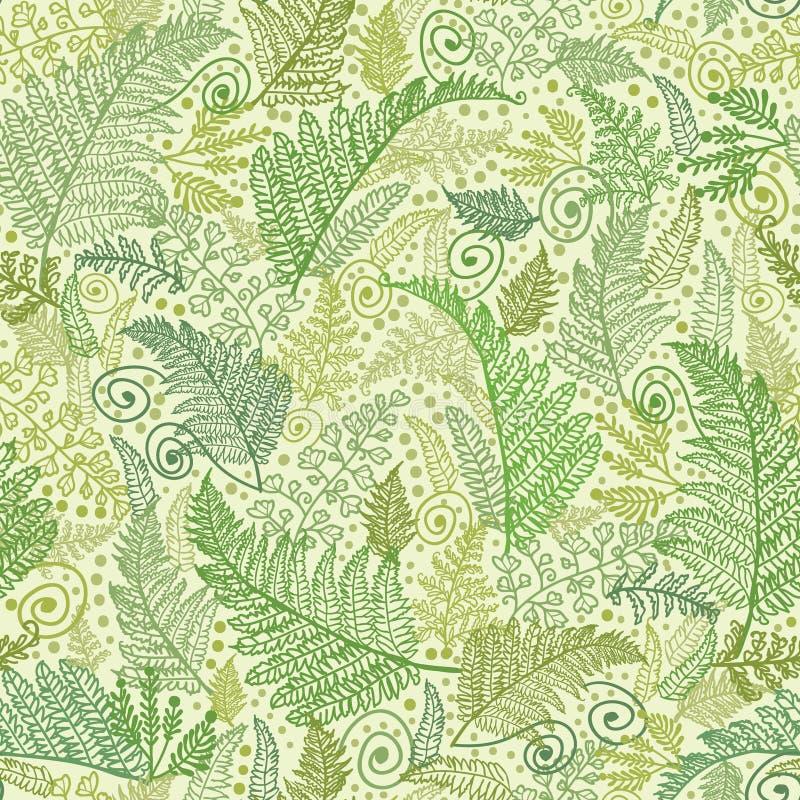 绿色蕨离开无缝的样式背景 皇族释放例证