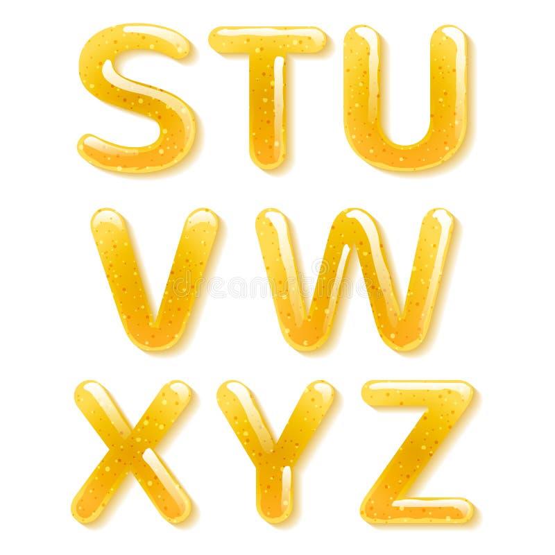 黄色蜂蜜果冻字母表 光滑的信件 皇族释放例证