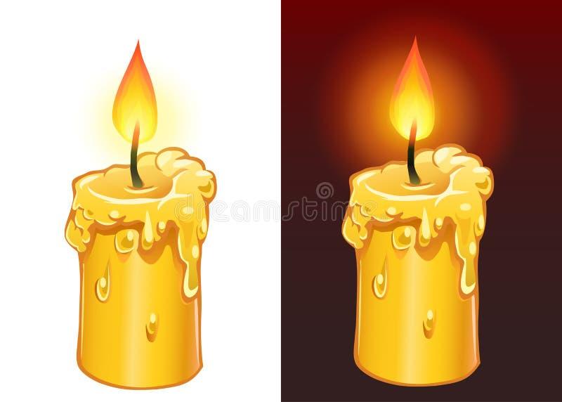 黄色蜡烛燃烧 库存例证