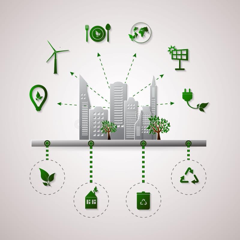 绿色行星传染媒介信息图表例证 生态平的设计 向量例证