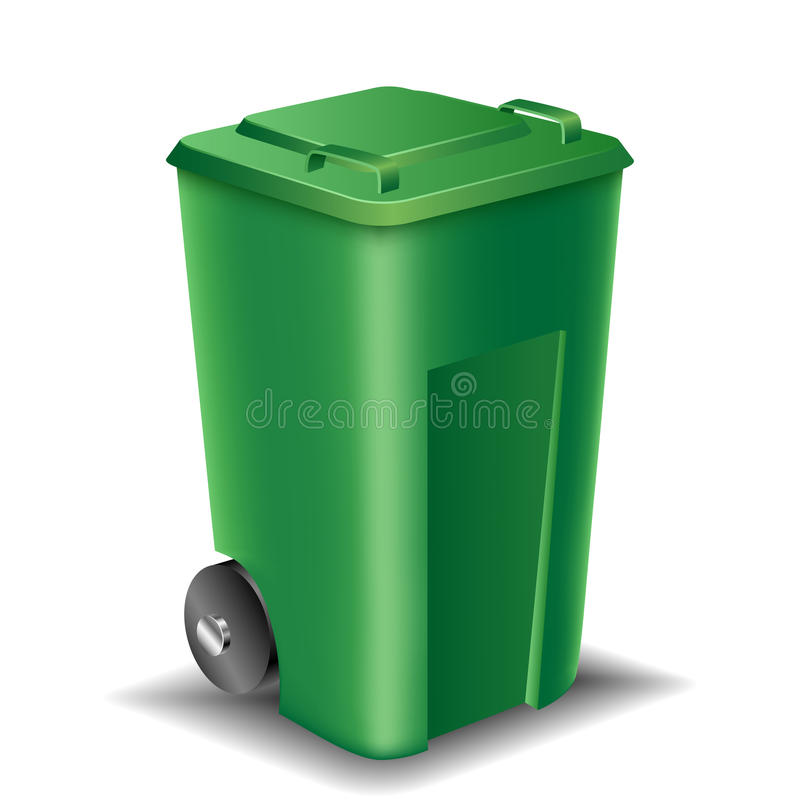 绿色街道垃圾箱 向量例证