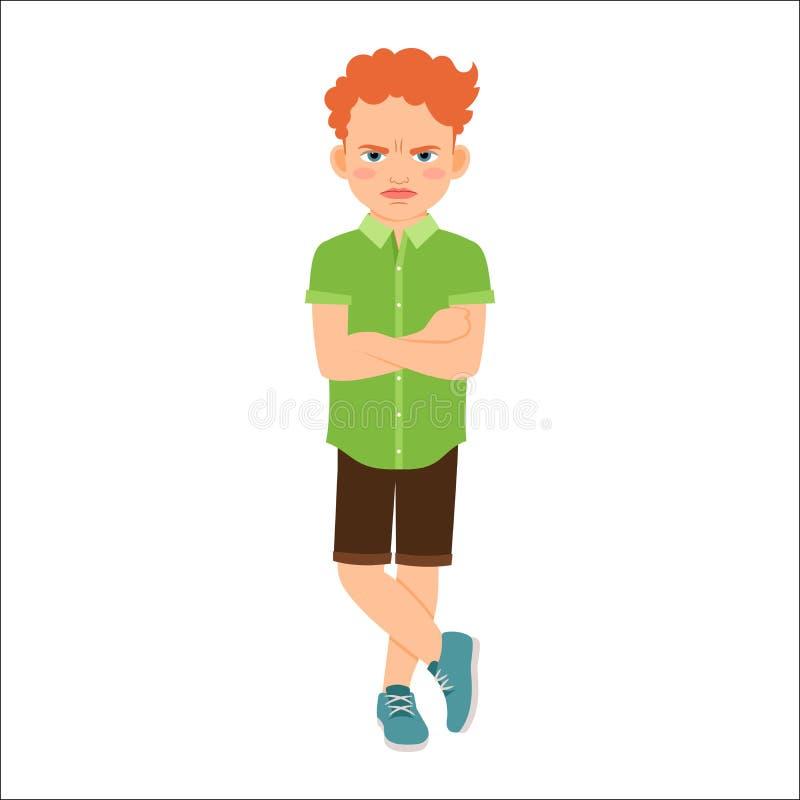 绿色衬衣的恼怒的红头发人男孩 皇族释放例证