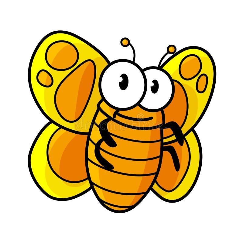 黄色被察觉的蝴蝶漫画人物 库存例证