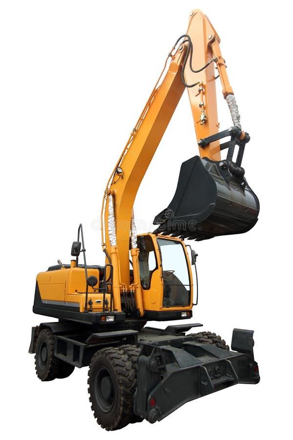 黄色被转动的挖掘机 免版税库存图片