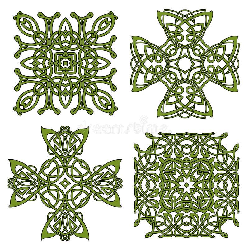 绿色被隔绝的凯尔特和爱尔兰十字架 向量例证