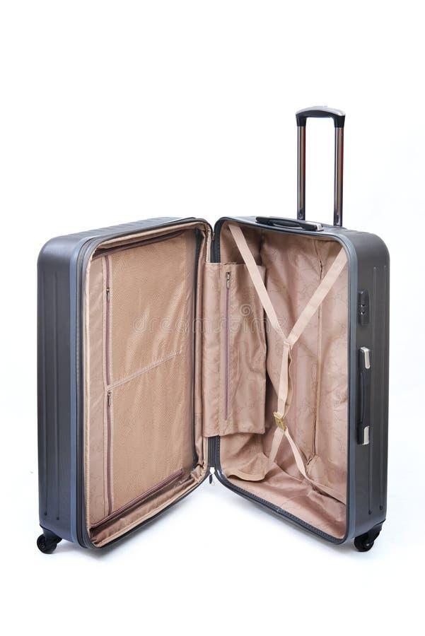 黑色被隔绝的被打开的行李 免版税图库摄影