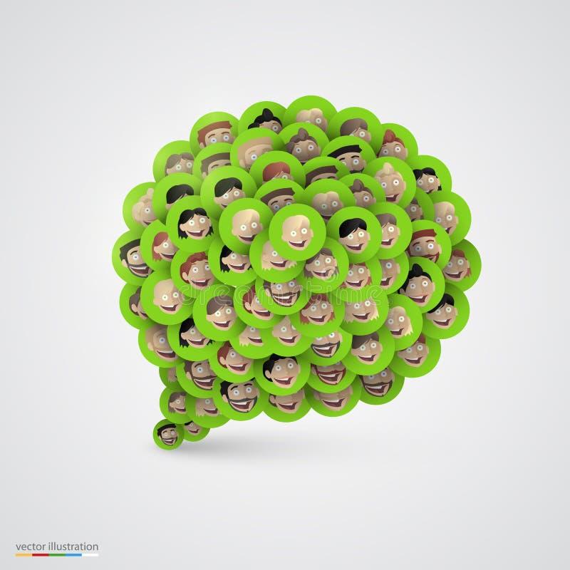 绿色讲话泡影由微笑的面孔做成 库存例证