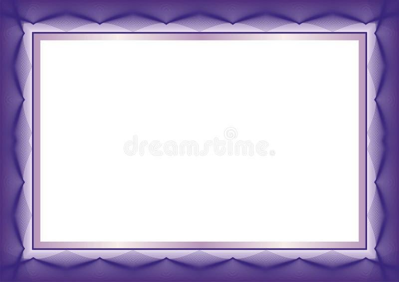紫色证明或文凭模板框架-边界 库存例证