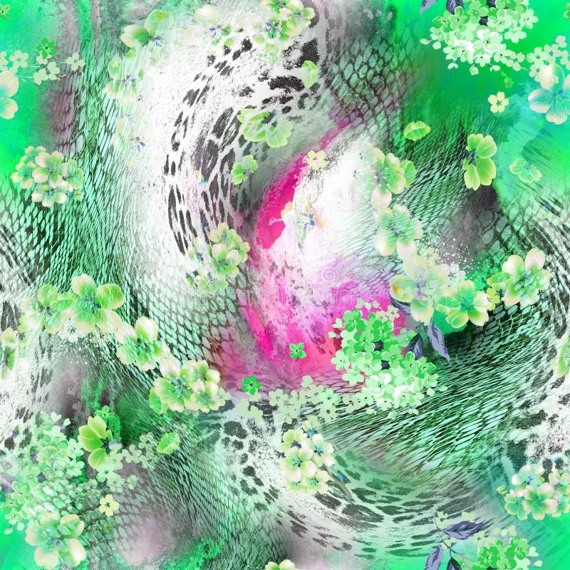 绿色豹子印刷品 向量例证