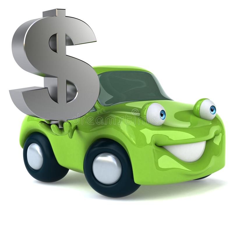 绿色车的3D例证 库存例证